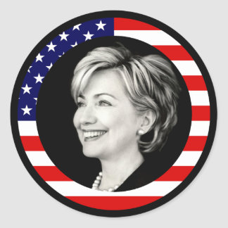 hillary clinton 08. us flag. picturesque. round sticker