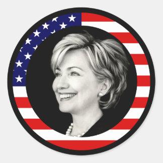 hillary clinton 08. us flag. picturesque. round sticker