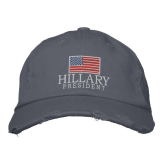 Hillary Clinton 2016 President with American Flag Embroidered Baseball Caps