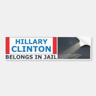 Hillary Clinton Belongs In Jail Bumper Sticker