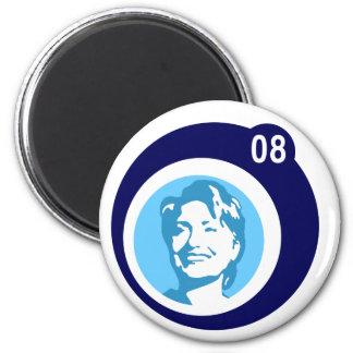 hillary clinton : blue bubbles : 6 cm round magnet