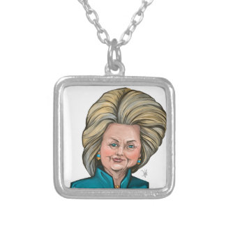 Hillary Clinton Caricature Silver Plated Necklace