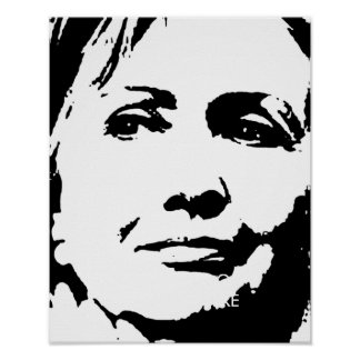 HILLARY CLINTON INK ART PRINT