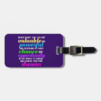 Hillary Clinton Inspirational Dreams Quote Luggage Tag
