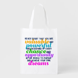Hillary Clinton Inspirational Dreams Quote Reusable Grocery Bag