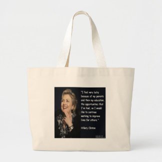 "Hillary Clinton ""My Parents & Education"" Quote Tote Bag"