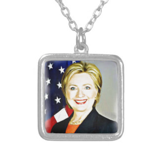 Hillary Clinton-President of USA_ Silver Plated Necklace