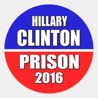 """""""HILLARY CLINTON PRISON 2016"""" ROUND STICKER"""