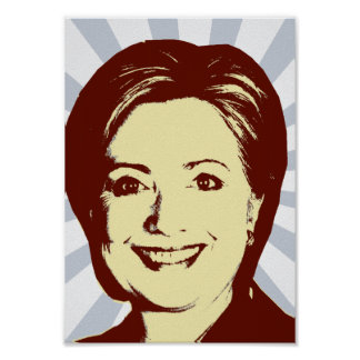 HILLARY CLINTON RED HEAD.png Posters