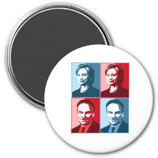 Hillary Clinton Tim Kaine - Block Art - 7.5 Cm Round Magnet