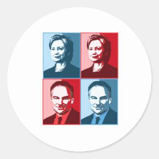 Hillary Clinton Tim Kaine - Block Art - Round Sticker