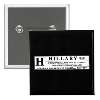 Hillary Clinton warning label 15 Cm Square Badge