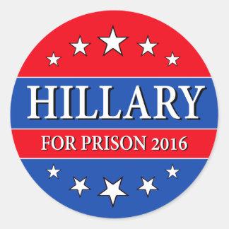 """HILLARY FOR PRISON 2016"" CLASSIC ROUND STICKER"