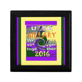Hillary For USA President We are Stronger Together Small Square Gift Box