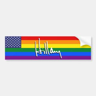 """HILLARY """"GAY PRIDE FLAG"""" BUMPER STICKER"""