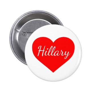 """HILLARY in RED HEART"" 6 Cm Round Badge"