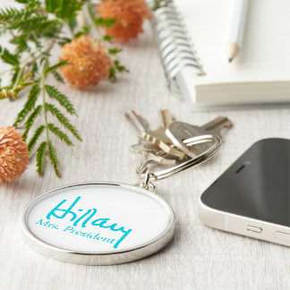 Hillary signature collection Silver-Colored round key ring