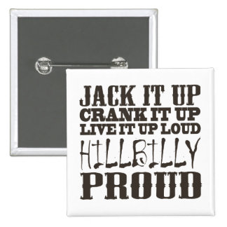 Hillbilly Proud Square Country Block Text 15 Cm Square Badge