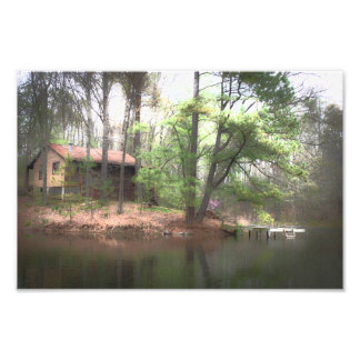 Hillfarm Cabin in the Woods - Rustic Country Print Photographic Print