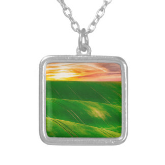 Hills countryside sky rural silver plated necklace