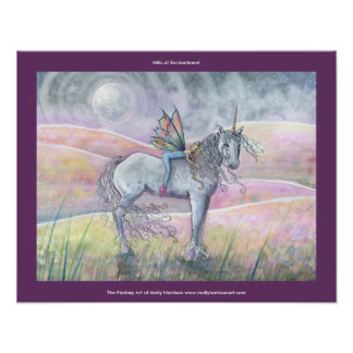 Hills of Enchantment Fairy Unicorn Poster