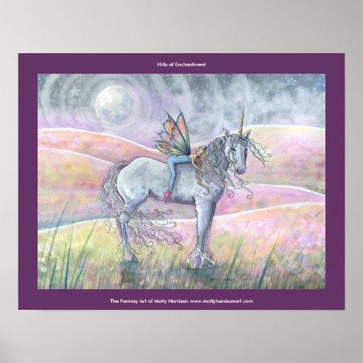 Hills of Enchantment Fairy Unicorn Poster