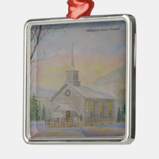 Hillsgrove Union Church Silver-Colored Square Decoration