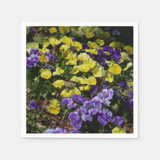 Hillside of Purple and Yellow Pansies Disposable Napkin