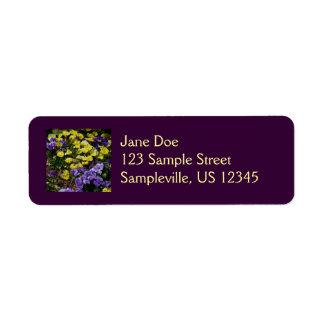 Hillside of Purple and Yellow Pansies Return Address Label