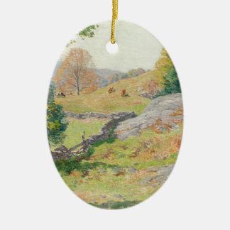 Hillside Pasture in September - Willard Metcalf Ceramic Ornament