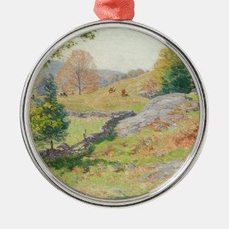 Hillside Pasture in September - Willard Metcalf Metal Ornament