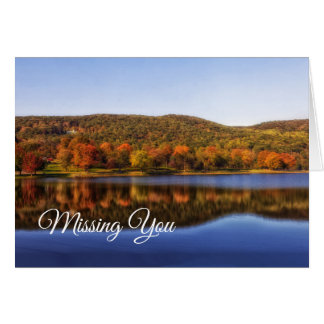 Hillside Reflected in Lake Missing You Blank Note Card