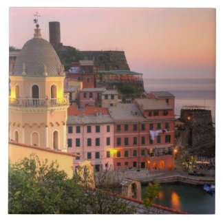 Hillside town of Vernazza in the evening, Cinque Large Square Tile