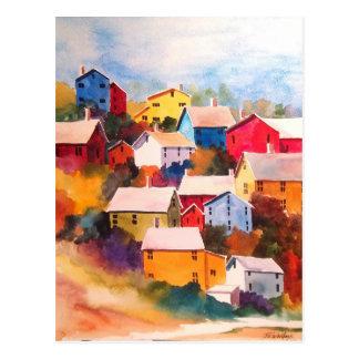 Hillside Village Houses Postcard