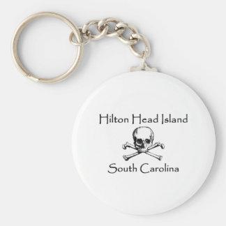 Hilton Head Island Jolly Roger Logo Basic Round Button Key Ring