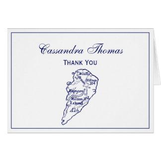 Hilton Head Island SC Vintage Map Navy Blue Card