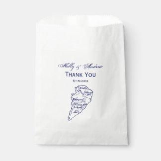 Hilton Head Island SC Vintage Map Navy Blue Favour Bag