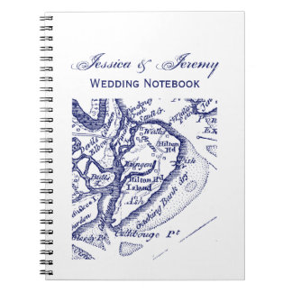 Hilton Head Island SC Vintage Map Navy Blue Notebook