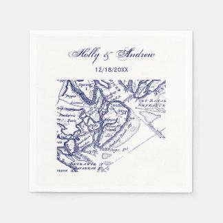 Hilton Head Island SC Vintage Map Navy Blue Paper Napkin