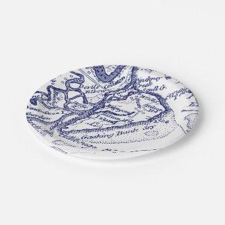 Hilton Head Island SC Vintage Map Navy Blue Paper Plate