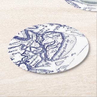 Hilton Head Island SC Vintage Map Navy Blue Round Paper Coaster