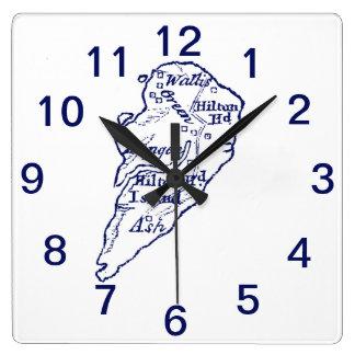 Hilton Head Island SC Vintage Map Navy Blue Square Wall Clock
