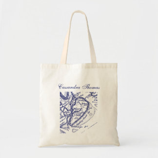 Hilton Head Island SC Vintage Map Navy Blue Tote Bag