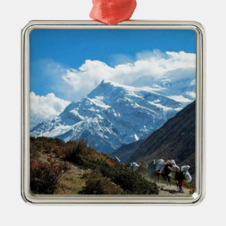 Himalaya Mount Everest India Nepal Travel Summer Silver-Colored Square Decoration