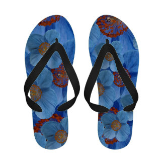 Himalayan Blue Poppy Flower Flip Flops