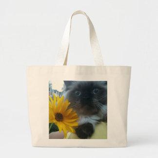 Himalayan Kitten with yellow flower Jumbo Tote Bag