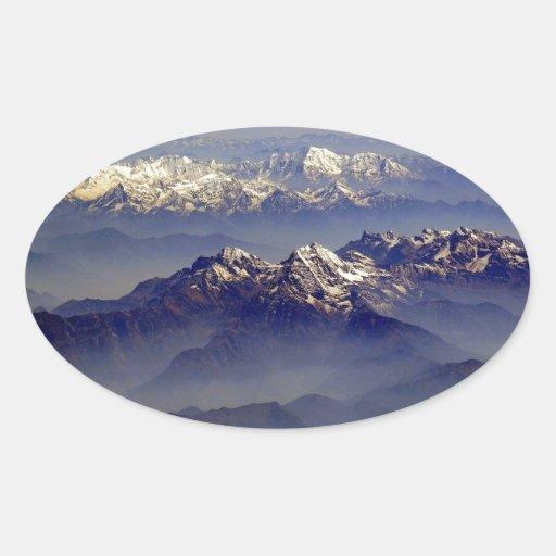 Himalayas Landscape Oval Stickers