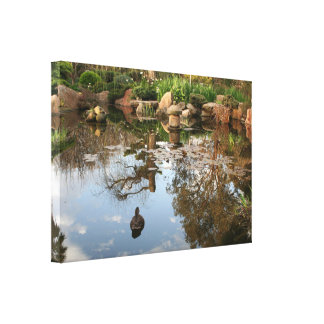 Himeji Japanese garden pond with duck Canvas Print