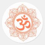 HINDU - BUDDHA SYMBOLS OM,OHM ROUND STICKERS