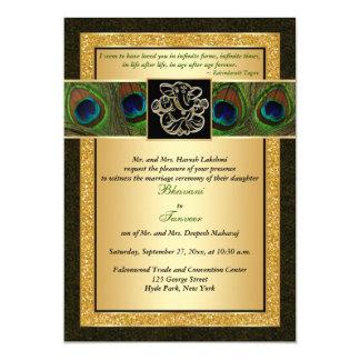 Hindu Ganesh Black, Gold Peacock Wedding Invite